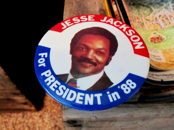 Jesse Jackson Political Button, for President in 1988