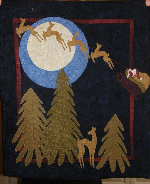Long Christmas Night Quilted Wallhanging