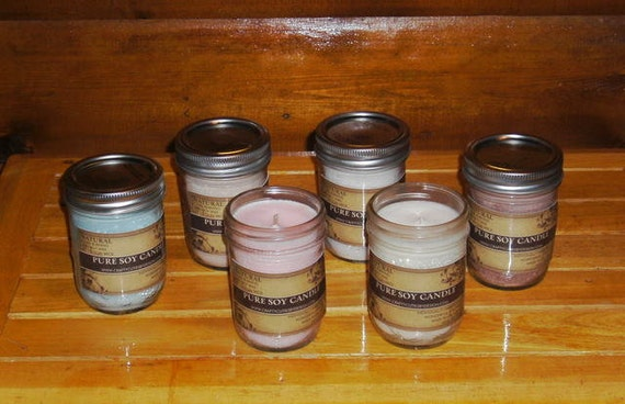 8 oz Scented Soy Candle, Choice 140 Scents, All Natural Candle, Hand Poured in Mason Jar
