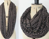 Eternity scarf, Circle scarf, Infinity, Jersey scarf, Tube scarf, Loop scarf, Snood,T-Shirt scarves - Aztec print scarf