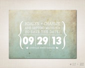 Modern Save The Date Postcard - Printed Postcards 5 x 7