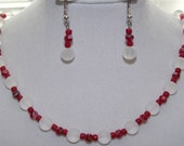 Red and Clear Beaded Two Piece Jewelry Set