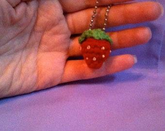Tiny Crochet Amigurumi Strawberry Ball Chain Key Chain or Bag Charm