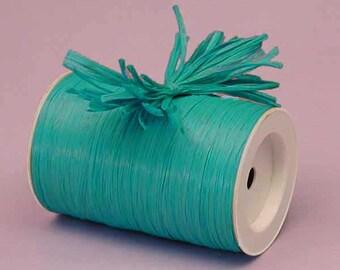 Aqua Matte Raffia Ribbon - 10 Yards - Many Colors Available