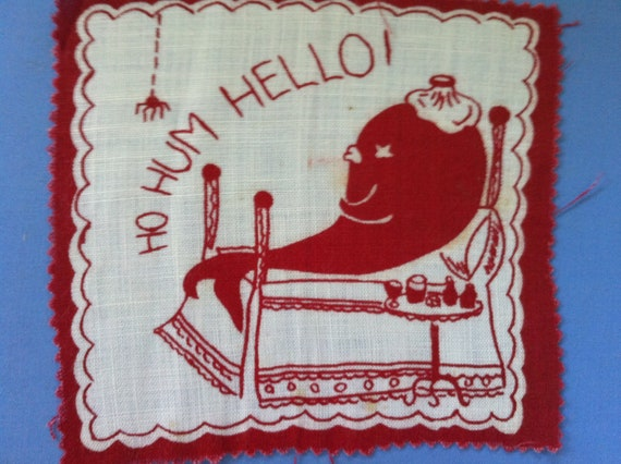 Bizarre Vintage Napkin Anthro Whale in Bed with Ice Pack