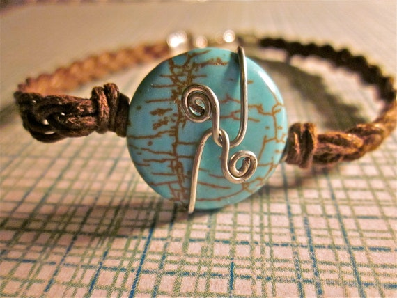 Wire Wrapped Round Turquoise Bracelet, Brown Braided Cotton Cord Strap