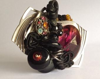 Recycled Jewelry, Steampunk Brooch, Greenwich Village Art Pin