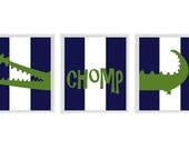 Alligator Nursery Wall Art Print Set ()  - Navy Blue Stripes Green Gator Decor Chomp - Children Kid Baby Boy Room - Home Decor