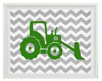 Construction Trucks Art Print Set - Boy Room Nursery Chevron Green Gray  - Wall Art Home Decor  Print