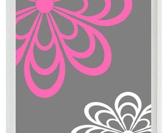 Flower Wall Art Print  - Hot Pink Gray White Decor Nursery Girl - Abstract Wall Art Home Decor