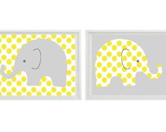 Elephant Nursery Wall Art Print - Yellow Gray Decor Polka Dots Children Kid Baby Room - Wall Art Home Decor Set ()  Print