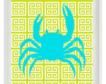 Beach Nautical Art Print Set -  Crab - Aqua Lime Green Greek Key - Wall Art Bathroom Home Decor Beach House  print