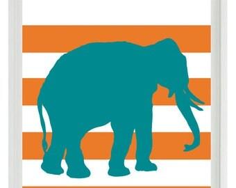 Elephant  Nursery Wall Art Print  - Safari Africa Orange Teal Stripes - Children Room Home Decor