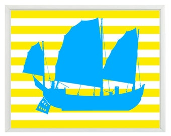Pirate Ship Art Print - Nautical Nursery Boy Room Blue Yellow Stripes Wall Art Home Decor