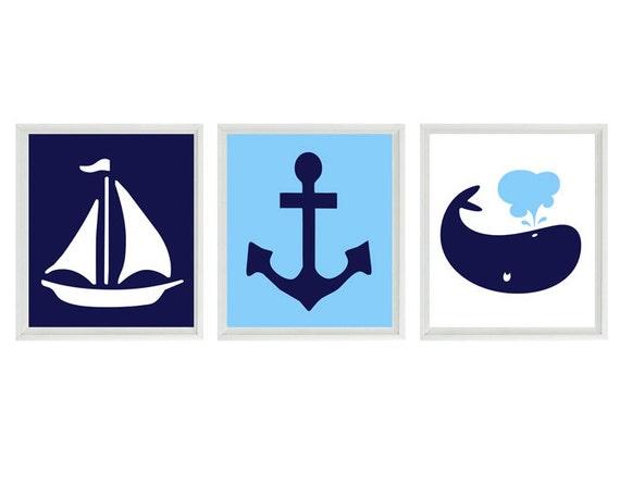Blue Anchor Wall Decor : Nautical sailboat anchor whale wall art print navy blue
