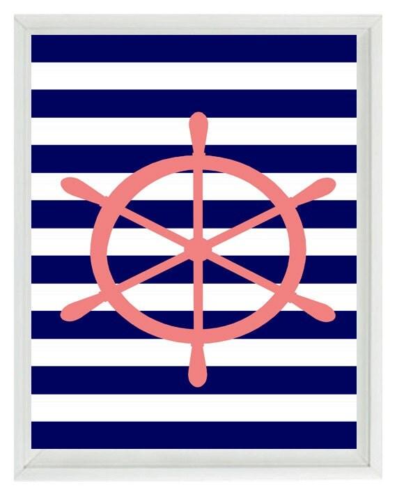 Beach Nautical Wheel Art Print - Pink Navy Blue White Stripes Nursery Girl Room -Wall Art Home Decor