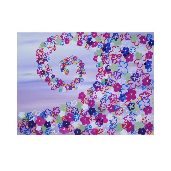 SAMPLE Purple Swirl Of Flowers Painting On A 20x24