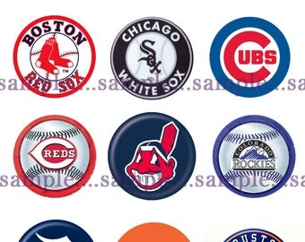 INSTANT DOWNLOAD!  All Major League Baseball Teams Bottle Cap Images.  DIGITAL-Tags-Cupcake Toppers-Scrapbooking and More.