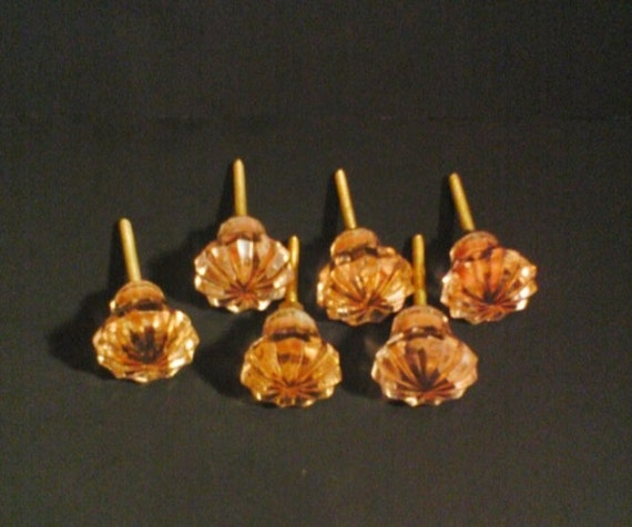 DRAWER PULLS Lot Of 6 Peach Glass  Drawer Or Cabinet Pulls