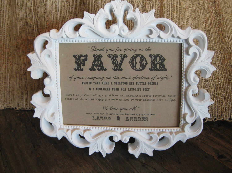 Wording For Wedding Gifts: Custom Wedding FAVOR Sign