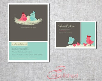 Modern, Contemporary Baby Shower Thankyou card - and then there were three- Printable, Digital