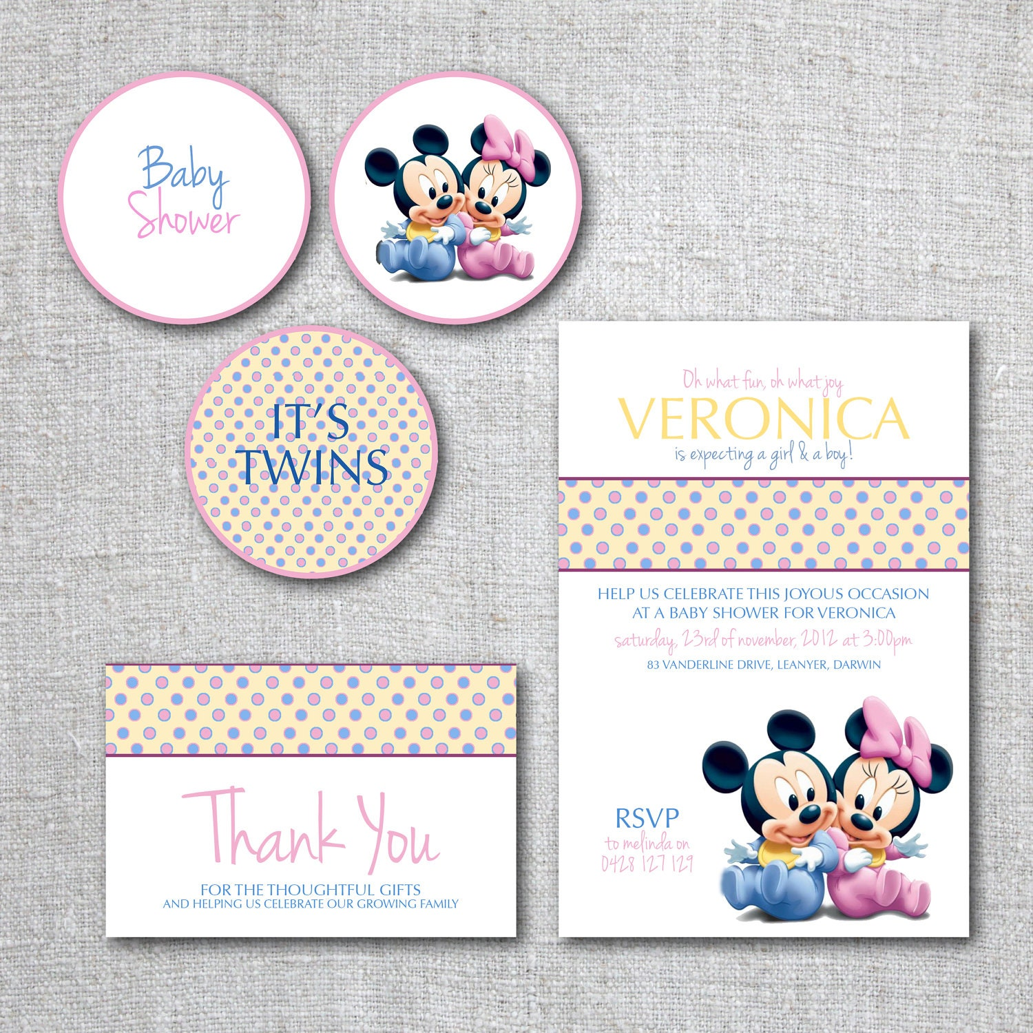 twins baby shower invitation set mickey mouse by theprintablecafe, Baby shower invitations