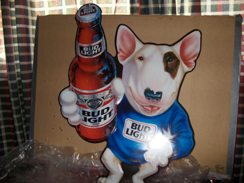 Metal Budweiser Beer Sign With Spuds Mackenzie Dog Bud Light