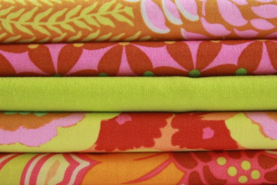 15% SALE with coupon NOVEMBER - Amy Butler Tangerine Lime FQ Bundle