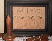 Framed Fall Harvest Primitive Stitchery, Pumpkins, Sampler, Rustic,Thanksgiving, Fall, Handmade, Handstitched, Fall Decoration, Primitive