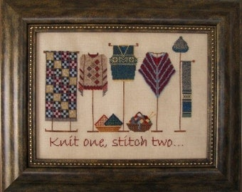 """Cross Stitch Instant Download Pattern """"Knit One, Stitch Two"""" Counted Embroidery Chart. Knitware Shop Window design. X stitch. Motto."""