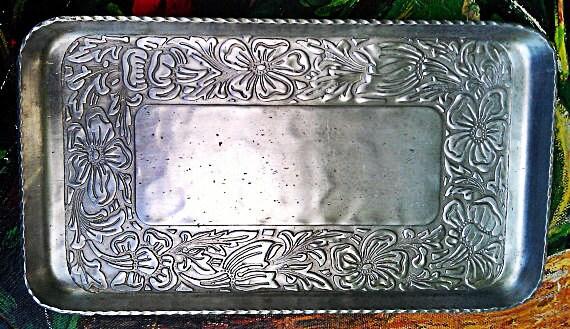 Vintage Aluminum Tray Hand Forged EVERLAST Metal Floral & Leaves