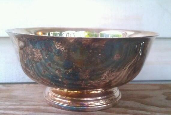 Vintage Silver Bowl -Gorham Silverplate Pedestal Bowl-