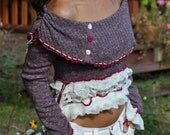 Reserve for Veronique Bohemian purple sweater with creamy white accents, Gypsy mini up-cycled sweater, eco friendly