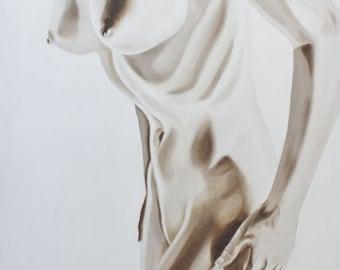 Female Torso - Original Oil Painting on stretchered canvas by International artist Allen Richings