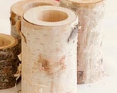 Three Birch Candles with LED Tealights (optional woodburning included)