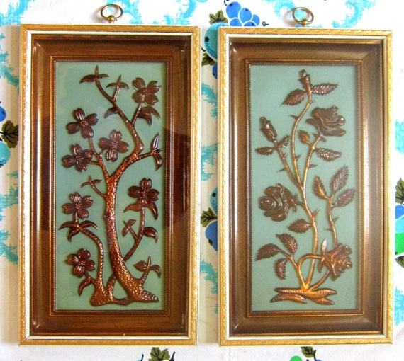 2 Vintage 1950s Turquoise and Copper Colored Metalcraft Framed Wall Hangings