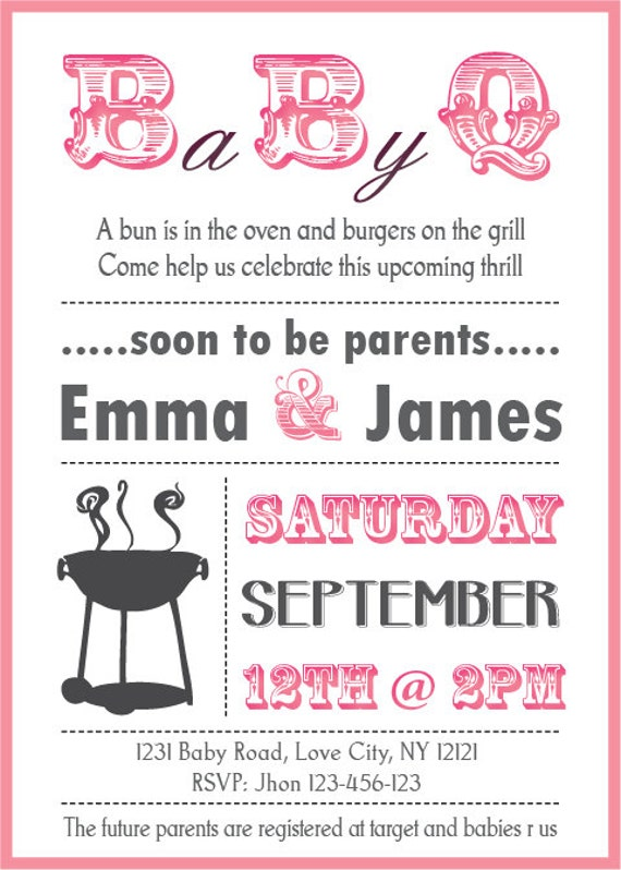 items similar to baby shower bbq invitation couples girl on etsy