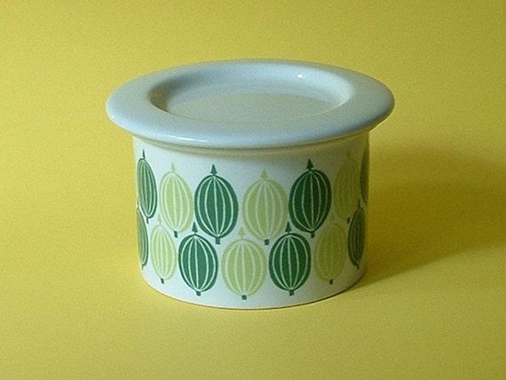 Arabia Finland covered porcelain gooseberry jam jar