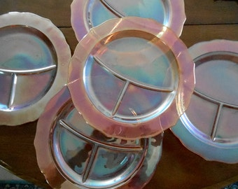 5 - 1930's Federal Glass Normandie Bouquet & Lattice Iridescent Grill Plates