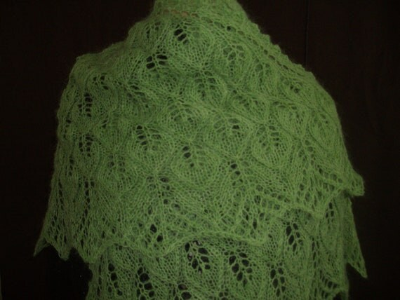 Lace triangle shawl leaf green mohair leaf pattern FREE shipping