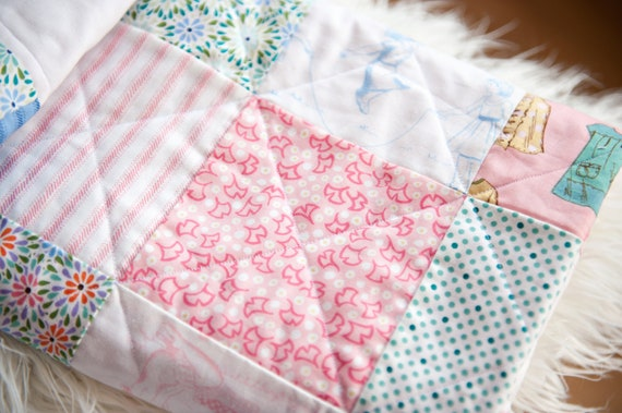 Pink and Blue Girly Patchwork Baby Quilt
