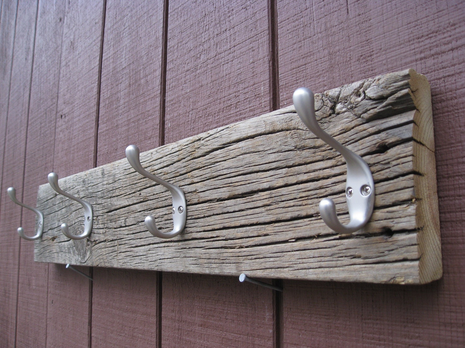 Rustic Reclaimed Barn Wood Coat Rack With Four Double Hooks