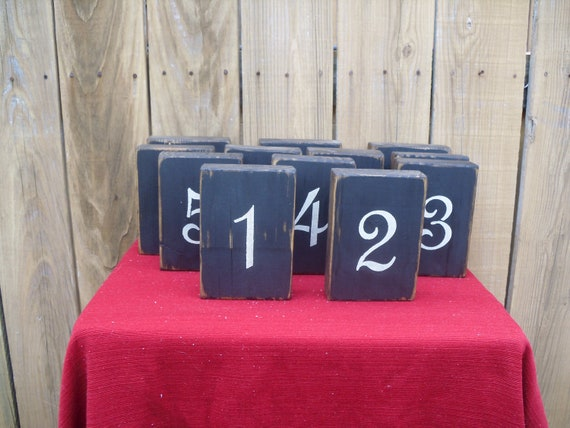 Wooden rustic table numbers for weddings