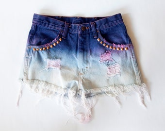 SALE Vintage Rustler High Waist Purple Ombre Studded Bleached and Distressed Denim Cut Off Shorts