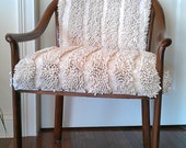 cream beige upholstered wood french chair