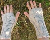 Handknit Womens Wool Beige  Light Grey  Fingerless Mittens