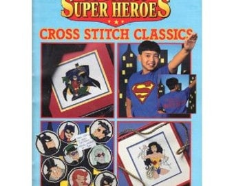 DC Comics Cross Stitch Pattern guide, Superman, Batman, Wonder Woman Joker, Riddler patterns for handmade comic book characters design