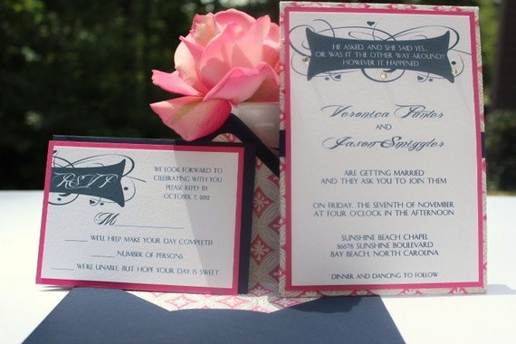 Pink And Navy Blue Wedding Invitations: Items Similar To Wedding Invitations Navy Blue And Hot