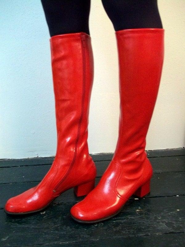 60s Fascinators Mod Red Vinyl Go Go Boots Size 7 1 2