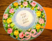 vintage cards ...  ROUND HAPPY BIRTHDAY Thinking of You wishes Card with envelope ...